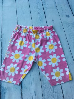 Mini Boden pink floral short leggings age 2-3